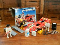 Vintage Playmobil 3147 Porsche '72 Can Am Pit Stop Red Race Car + Crew