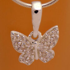 White Cz Pendant &Gift Velour Strap Marvelous 925 Sterling Silver Cute Butterfly