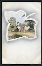 C1920s Art Card: View of Milk Maid & Cows with Leaf Border