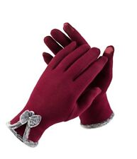 Women's Touch Screen Phone Thick Fleece Warm,Cold Weather Wear Gloves (Red)