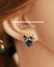 Blue Turquoise Earrings Fashion Jewelry Bow Gift Box Cube Crystal Rhinestones