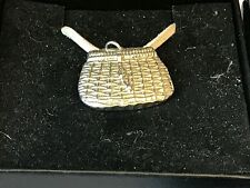 "Fishing Basket TG22 English Pewter On 18"" White Cord Necklace"