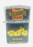 Classic Iron Blockhead Motorcycle Cigarette Lighter A.A.D.L.P 1991