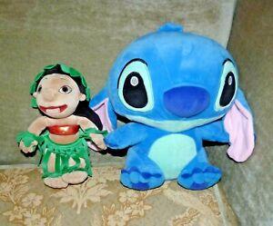 "Lot 2 Disneyland Lilo & Stitch Soft Plush Stuffed Toy Dolls 13"" & 10"" VERY Good"