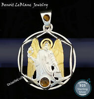 STERLING SILVER 925 ARCHANGEL URIEL GOLD PLATED w/ 2 TIGER EYEs PENDANT JEWELRY