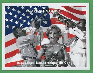 Marilyn Monroe Mickey Rooney Ray Anthony Souvenir Tampon Feuilles Congo E18