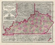 1886 KENTUCKY  HAND COLORING original ANTIQUE MAP authentic
