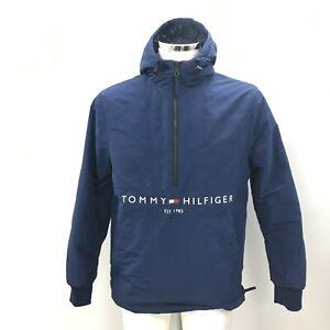 Tommy Hilfiger Men's Hooded Jacket Size Small Blue Half Zip Logo Print 303345