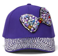 Womens Sequined Baseball Cap w/ Bow - Pink