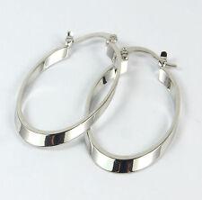 Women's 14 Carat White Gold Filled Oval Hoop Earrings Jewellery