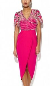 Virgos Lounge Pink Ursula Wrap Embellished Midi Wedding Party Prom Dress UK 8 36