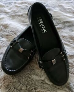 Geox Black Leather Loafer/Driving Shoes Size 4 UK