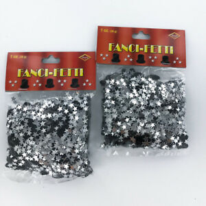 Silver Stars and Black Top Hat Confetti, Lot 6 Bags, Wedding, Formal, Crafts