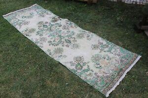 "Vintage Handmade Turkish Oushak Runner Rug 86""x28"",220x78cm"