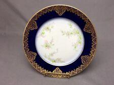 "Antique W.Guerin Limoges Blue Flow 8&3/8"" Plate Gold Detail on Cobalt & Floral"