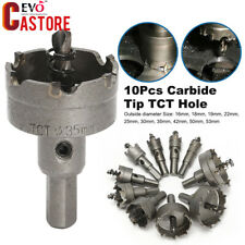 10Pcs Carbide Tip TCT Hole Saw Cutter Drill Bit Set Steel Metal Alloy 16-53mm