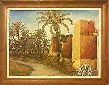 Tableau ancien Maroc - peinture ancienne - milieux XXe Marrakech -Les remparts