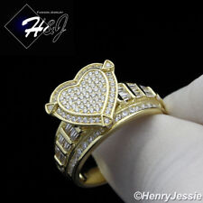 WOMEN 925 STERLING SILVER GOLD/SILVER ICED BLING HEART SHAPE ENGAGEMENT RING*S88