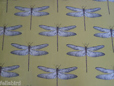 HARLEQUIN CURTAIN FABRIC Demoiselle 1.8 METRES CHARTREUSE/GRAPE DRAGONFLY