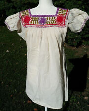 Maya Mexican Blouse Top Shirt Embroidered Flowers Chiapas Off-White Small 315