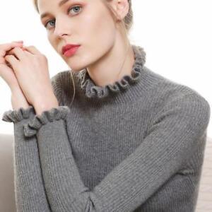 Women's Sweater Wool Blend Turtleneck Pullovers Ruffle Long Sleeve Slim Fit Top