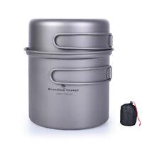 Titanium Bowl Pot Set with Folding Handle Outdoor Camping Ultralight Cookware