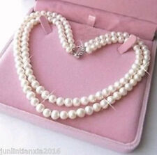 """Pearl Jewelry Necklaces 17-18"""" Free Box Real Aaa 7-8mm 2 Rows White Cultured"""