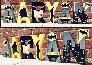 Batman Childrens personalised letters names.Marvel Superhero Avengers Spider-Man