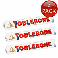 3 x TOBLERONE WHITE CHOCO CHOCOLATE SNACKS SWISS HONEY ALMOND NOUGAT TREATS 100g