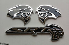 3pcs Black HELLCAT Emblem L/R Badge Sticker Metal Dodge Challenger Charger SRT