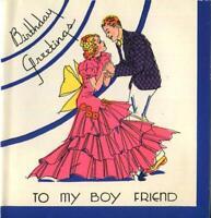 VINTAGE 1930'S HOLLYWOOD MAE WEST GRETA GARBO CARTOON BATHING SUIT GREETING CARD