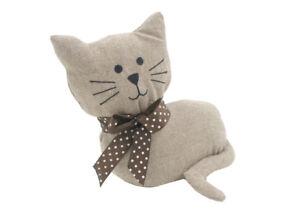 Fawn Colour Fabric Cat Door Stop