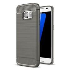 Samsung Galaxy S7 TPU Case Carbon Fiber Optik Brushed Motiv Schutz Hülle Grau
