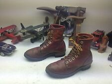 VINTAGE STEER BRAND USA OXBLOOD LEATHER LACE UP ENGINEER BOSS LOGGER BOOTS 9W