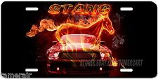 "MUSTANG ""STANG"" FIRE AND HORSE  LICENSE PLATE, PERSONALIZED,  Made in USA"
