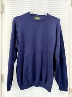 Eddie Bauer Mens Sweater Navy Blue 100% Cotton Crew Neck Size L TALL