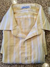 Silken Touch Mens 17 4 Light Yellow Pastel White Stripe Button Up Shirt Slim Fit