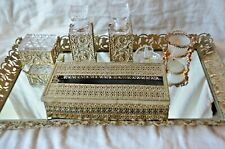 Vintage Set Vanity Mirror, Gold Metal Filigree Perfume Bottles Powder Box 23x18