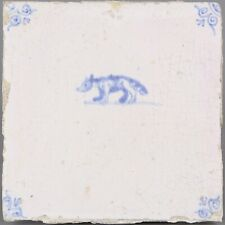 Nice Dutch Delft Blue tile, wolf, second half 17th. century.