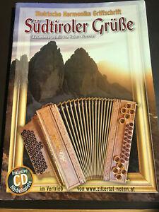 """Notenheft für Steirische Harmonika """"Südtiroler Grüße"""" mit CD"""