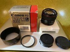 Mint CANON FD 50mm F1.2 L Prime lens Japan - Original Owner