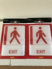 Set of 2 Durable Plastic EXIT SIGNS Self-Stick Hillman # 841766 NEW