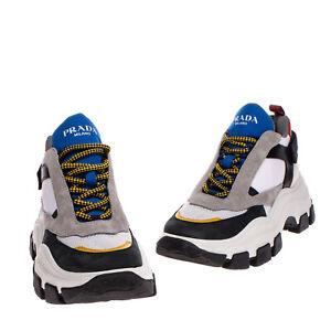 RRP€600 PRADA PEGASUS Sneakers EU43 2/3 UK9.5 US10.5 Contrast Leather Thick Sole