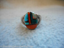Sterling Silver Native American Ring With Multi coloured Stones 6.3 grams