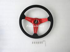"14"" Red-Black PU Aluminu Racing UTV Steering Wheel & Horn,Golf Cart EZGO CLUBCAR"