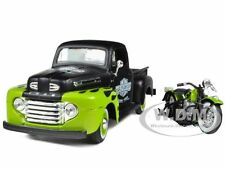 1948 FORD F-1 HARLEY DAVIDSON WITH 1948 FL PANHEAD 1/24 GREEN/BLACK MAISTO 32171