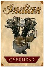 Overhead Motor Engine Vintage Indian Motorcycle Metal Sign Wall Decor FRC081
