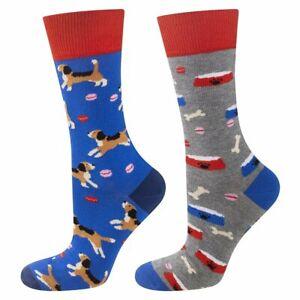 Men's Dog Socks (Pair) Fun and colourful Animal Socks - Mix-match