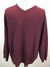 S13 Field Gear Men Sz L 100% Cashmere Maroon Red V-Neck Pullover Sweater