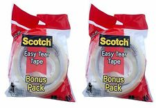 2 x Scotch Easy Tear Tape Bonus Pack Clear Gift Wrapping 25mm x 50m & 19mm x 30m